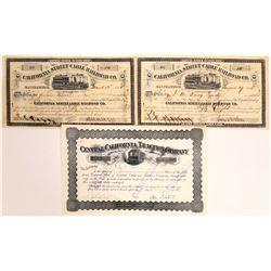 California Railroad Stock Certificate Trio  [113990]