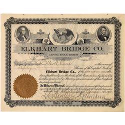 Elkhart Bridge Company Stock Certificate, Indiana, 1902  [128589]