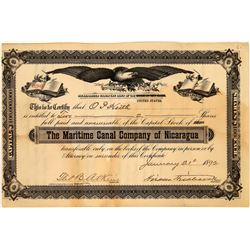 Maritime Canal Company of Nicaragua Stock Certificate, 1892  [128594]