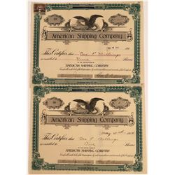 American Shipping Company Stocks, San Francisco, Signed by Geo. Billings (2)  [128638]