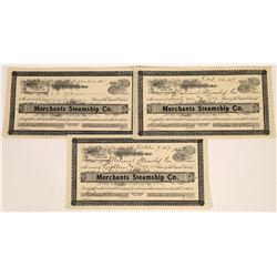 Merchant's Steamship Company Stock Certificates, 1907 (3)  [128592]