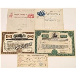 Pacific Coast Steamship Ephemera Lot Includes Stocks, Billheads and Check (5)  [128620]