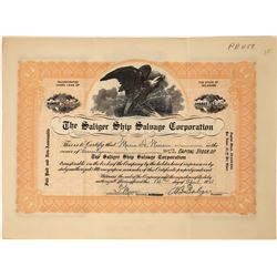 Saliger Ship Salvage Corporation Stock Certificate  [128575]