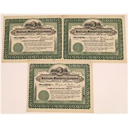 American Navigation Company Stock Certificates (3)  [128637]