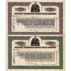 Kelly-Springfield Motor Truck Company Stock Certificates  [127959]