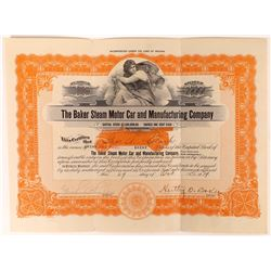 Baker Steam Motor Car Company Stock Certificate  [127925]
