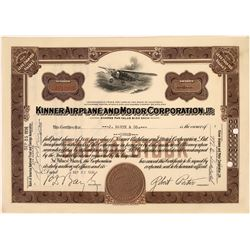 Kinner Airplane and Motor Corporation Stock Certificate  [128270]