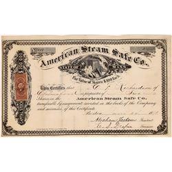 American Steam Safe Company Stock Certificate  [128310]