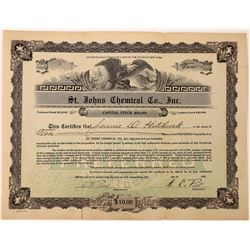 St. Johns Chemical Company Stock Certificate  [127003]