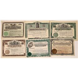 Group of 6 Safety Device Stock Certificates  [118759]