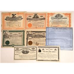 Power Company Stock Certificates (8) Includes Two from 1800's and a #1  [128776]