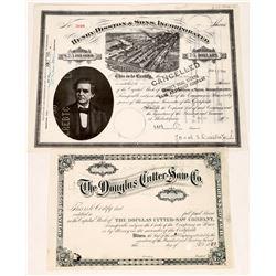 Saw Company Stock Certificates  [128284]