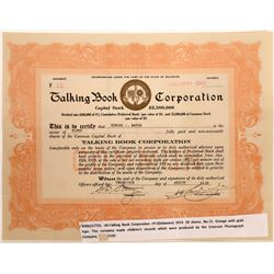 Talking Book Corporation Stock Certificate  [128820]
