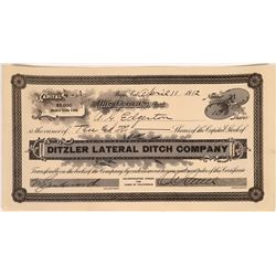 Ditzler Lateral Ditch Company Stock Certificate  [128300]