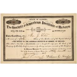 Society of the American Institute of Hebrew Stock Certificate  [127879]