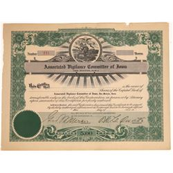 Associated Vigilance Committee of Iowa Stock Certificate  [128451]