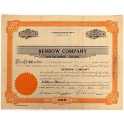 Benbow Company Stock Certificate  [128452]