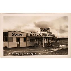 Real Photo Postcard of Fernley's Hot Springs Texaco Station  [128338]