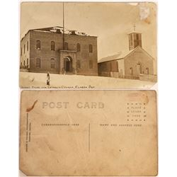 Rare Real Photo Postcard of School House & Church, Eureka, Nevada  [128860]