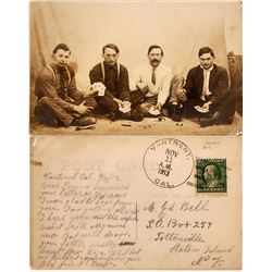 Real Photo Postcard of Gambling Men  [128363]