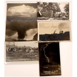 Real Photo Postcards of Tornado Destruction and Lightning  [128369]