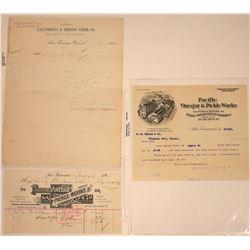 San Francisco Pickles & Cider Billheads, 1886-1904 (3)  [128786]