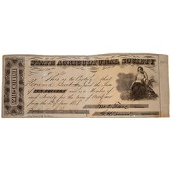 State Agricultural Society 1858 Receipt  [127941]