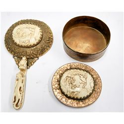 Asian Woman's Hand Mirror and Box, Brass with Gold Plate   [131388]