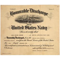 Honorable Discharge from the U.S. Navy, 1933  [128634]