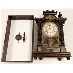 Old Chinese Wind Up Clock and Lattice Frame  [108510]