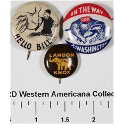 Political Pinback Buttons (3)  [129510]