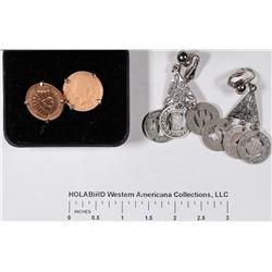 Coin Jewelry: Indian Head Penny Cufflinks & Transportation Token Earrings  [129144]