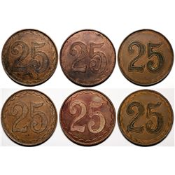 American 'Poker Chip Style' Counters - Three '25' Counters  [118207]