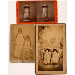 Arizona Indian Women, Cabinet Cards (2) and Stereo card