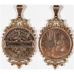 Gold Santa Clara College Joseph F. Byrne, 1887 Engraved Gold Medal Pendant [131781]