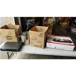 2 BOXES OF KITCHEN ITEMS, STEREO EQUIPMENT, SPEAKERS