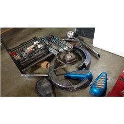 Lot of Harley parts Chrome oil tank, drag bars, bullet signal lights, shovel head fenders, muffler p