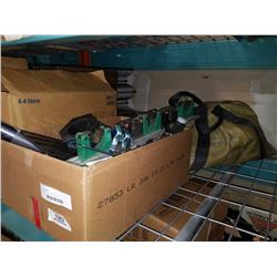 BOX OF TOOLS, GLOVES, TOOL ORGANIZERS AND BAG OF ROPE AND AIR HOSE
