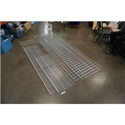 3 PIECES WIRE GRID WALL AND WIRE METAL SHELF