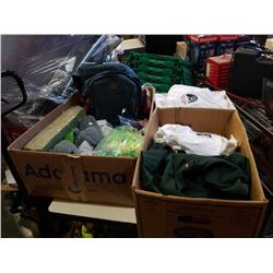 Three boxes of new shirts, backpack, slippers and more