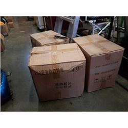 Three boxes of 200ml glass bottles no lids