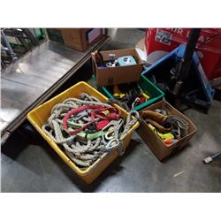 2 totes and box of rope tools and Tool belts