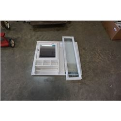 WHITE MEDICINE CABINET AND ETCHED WINDOW INSERT AND WASHING MACHINE PAN