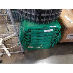 5 GREEN STACKING TOTES WITH BUILT IN LIDS
