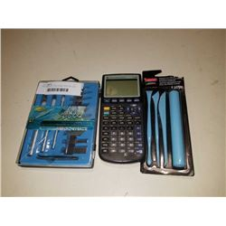 TEXAS INSTRUMENTS TI-83 CALCULATOR, PRECISION CUTTING HOBBY KNIFE SET AND PREMIUM CLAY TOOLSET