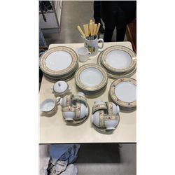 MIKASA CASTLE BERRY CHINA SET  5 PIECE 8 PLACE SETTING, SET OF KNIVES, OTHER MUG AND PITCHER