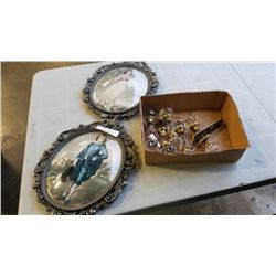 2 antique dome front glass pictures and doorknobs