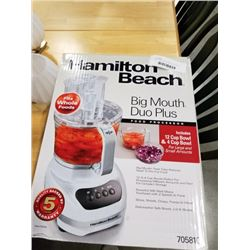 HAMILTON BEACH BIG MOUTH DUO PLUS FOOD PROCESSOR - TESTED WORKING