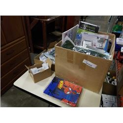 BOX OF NEW ITEMS, WATER BLADDER, PONCHO, ETC