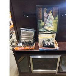 2 DECORATIVE BOOK BOXES, POPCORN MAKER, HEATER, TURTLE CARVINGS, PRINT AND PLATE WALL HANGERS
